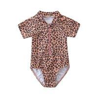 الفهد الفتيات ملابس السباحة الاطفال المايوه الطفل ملابس السباحة البيكينيات من قطعة واحدة الاطفال الاستحمام الدعاوى قصيرة الأكمام بذلة الطفل مجموعات بحر b4040