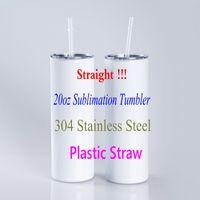 Paja de plástico 20oz Sublimación recta Tumblers 304 Acero inoxidable en blanco Taller de agua Taller Botella de agua