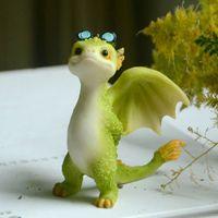 Collezione quotidiana Simulazione in resina Magic Animal Dragon Dinosauro Miniatura Fata Giardino Terrario Bonsai Decor Dragon Figurine C0220