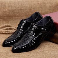 Reife Mens formale Kleiderschuhe PU spitzer Fuß Oxfords Schuhe Slip auf niedrig geschäftszeit hochzeit gummi gummi e8ey #