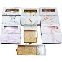 Mink Eyelash Package Boxes False Eyelashes Marble Square Packaging Empty Eyelash Box Case Lashes Box Packaging