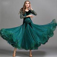 Desgaste de la etapa 4 colores Verde azul Mujeres Waltz Vestido Lace Tango Trajes de baile estándar Manga larga Ballroom Vestidos de competencia