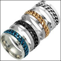 Band Rings Jewelryest High End Boutique Mens Stainless Steel Gold Black Sier Chain Rotatable Ring Finger Tide Personality 5Colors Drop Deliv