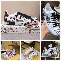 2021 Bayanlar Sneakers En Kaliteli Erkek Deri Rahat Ayakkabılar Baskı Desen Çift Moda Kişilik Vahşi Spor Ayakkabı