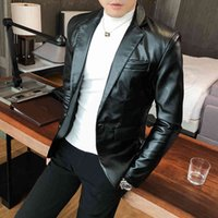 Men's Suits & Blazers Male fake leather jacket, jacket with a casual button, slim fit white, black, red, singer 6K1D