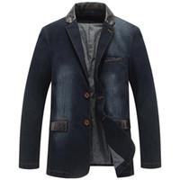 Chaquetas para hombre Otoño Casual Denim Jacket Hombres Invierno Blazer Trajes para hombre Chaquetas de negocios para hombre Trajes de cuero Patchwork Men Jeans Coat M ~ 4XL