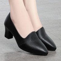 Dress Shoes 2021 Spring Autumn Steady High Heels Pumps Women Office Lady Comfy Grip Sole Mid Heel Thick Size 40