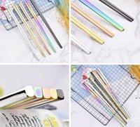 Из нержавеющей стали палочки для еды 5 цветов квадратные палочки для палочек столовые приборы Домашняя гостиница Простой стиль посуда, высокое качество палочки для еды DHF5364