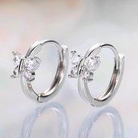 Hoop & Huggie Minimalist Crystal Butterfly Earrings Women Delicate Girl Daily Wear Accessories Luxury Bridal Wedding Party Jewelry