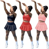 Womens Casual Dois Peça Vestido Moda Tendência Sólida Cores Sem Mangas Vest U-pescoço Tops Curtas Saias Sets Designer Verão Feminino Mostrar roupas de cintura