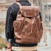 Backpack Men's Genuine Crazy Horse Leather Vintage Fashion Designer Daypack Men School Bag Cowhide For Satchel