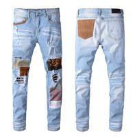 Mens de concepteur Jeans droite Slim Fit motard luxe déchiré vêtement denim détruit 2021 fermeture à glissière occasionnel hip hop hip hop vêtements