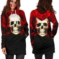 Women's Hoodies & Sweatshirts Autumn Winter Halloween Skull Printed Gradient Color Hooded Long Sleeve Sweatshirt Blouse Casual Pocket Pullov