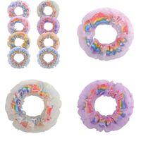 Schattige haar ring clips accessoires haarband meisjes haar touw mode gradiënt kleur regenboog dubbele cirkel snoep kleur haar stropdas levert G22207