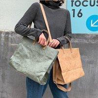 Designer Large Capacity Kraft Paper Tote Women's Shoulder Bag Fashion Female Messenger Bag Dupont Paper Bags Totes Handbags