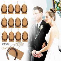 Party Favor 20Set Creative DIY Wedding Horseshoe Pendant With Blank Kraft Paper Tags Label Baby Shower Souvenir Supplies