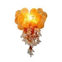Pomarańczowy szklany bąbelkowy żyrandol kryształy lampa murano światła do sypialni salon sztuki wystrój ręcznie dmuchany led lampy wisiorek sprzedaż 50 cm