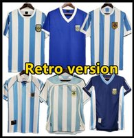 Arjantin Retro Sürüm Maradona Futbol Forması 1978 1986 1998 Batistuta Messi Simeone Futbol Gömlek 2006 1994 Dünya Kupası Futbol Üniformaları
