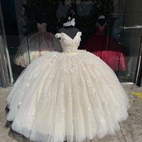 2022 Modest Champagne 3D Floral Flowers Quinceanera Prom Dresses Ball Gown off the Shoulder Glitter Sequined Tulle party Formal Sweet 16 Dress Vestidos 15 Anos