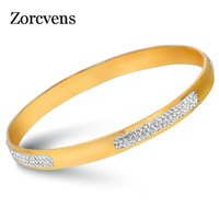 Modyle 2021 New Fashion Crystal Pave Gold Color Brazaletes de acero inoxidable Brazaletes para mujeres