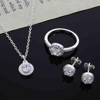 2015 nuevo diseño 925 plata esterlina cz collar de diamante anillo pendientes conjunto de joyería de moda regalo de boda para mujer envío gratis 55 u2