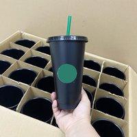 clear black starbucks plastic cups 24oz lid tumblers coffee juice drinking with pilar shape straw flat bottom flash cup 10pcs
