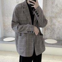 Men's Suits & Blazers HYBSKR Spring Men Suit Korean Clothes Long Sleeve Plaid Oversize Coats For Manle Harajuku Fashion Casual Designer Clot