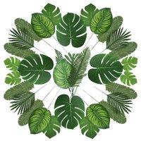6 çeşit suni palmiye yaprakları parti dekorasyon orman yaprakları tropikal dekorasyon plaj doğum günü için