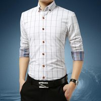 Men's Dress Shirts Oversized Business Plaid Long-sleeved Shirt Classic Formal Design Work Clothes Office Bank Comfortable 5XL