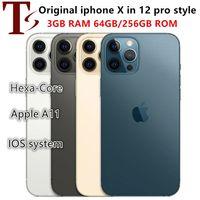 100% Apple Original iphone X in 12 pro style phone Unlocked inside 12pro box&Camera appearance 3G RAM 256GB ROM smartphone