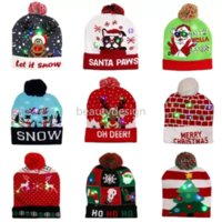 LED funny Christmas Hat Novelty Light-up Colorful Stylish Beanie Cap Knitted Xmas Party DD