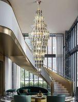 연기 회색 크리스탈 샹들리에 디럭스 거실 램프 호텔 듀플렉스 건물 장식 계단 긴 샹들리에