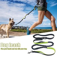 Dog Collars & Leashes Hand Free Running Lead Adjustable Waist Belt Perfect Jogging Hiking Walking Nylon Leash Bungee Harness For Running#25