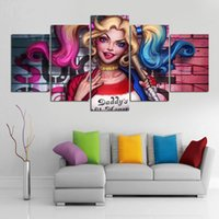 Moderne Leinwand Kunst abstrakte Malerei HD gedruckt Wandkunst 4 Panel Bilder Filmfiguren Mädchen Suicide Squad Harley-Quinn Poster Poster Hom