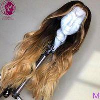 """Глубокая часть человеческих волос парик 8 """"-24"""" Омбре коричневая блондинка подчеркивает цвет 13x4 / 13x6 кружева передний парик Натуральная волна REMY волос 150% 180%"""