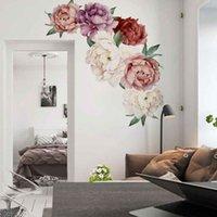 Wall Stickers Peony Rose Flowers Art Sticker Decals Kid Room Nursery Home Decor Gift QW
