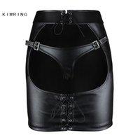 Kimring Gotik Deri Etek Büyük Göt Açık Butt Clubwear Mini Etek Seksi Sıkı Kalça Etek 210315