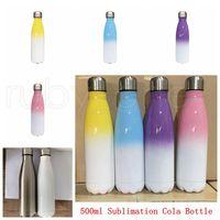 17oz Sublimation Cola Botella de colores de colores con la capa de sublimación Color Cambio de COLA Botellas de cola 500 ml Botella de bebida de acero inoxidable RRA4197