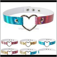 Chokers Necklaces & Pendants Jewelry1Pc Creative Vintage Rock Fashion Collar Punk Goth Style Heart Rivet Decor Choker Leather Necklace Jewel