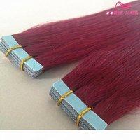 Heißer Verkauf Klebeband in den Haarverlängerungen BURG Farbe 40 stücke Seidige gerade Peruanische Band Menschliche Haarverlängerungen Remy Menschliches Haar Kostenloses DHL