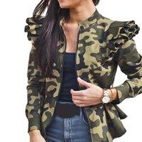 Giacche da donna Autunno Moda Camouflage Roffles Giacca Inverno Manica Lunga Stand Collar Coat Cappotto corto Femminile Leopardo Plaid Zipper