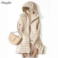 Fitaylor Kış Ultra Açık Beyaz Ördek Aşağı Ceket Kadınlar 4XL Artı Boyutu Ceket Orta Uzun Yelek Kadın Rahat Fermuar Giyim 210923
