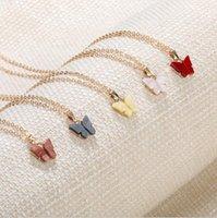 Подвески Jewelryspendants Красочные бабочки кулон ожерелье Золотые цепи для женщин простой темперамент смолы камня Druzy ожерелья капля дель