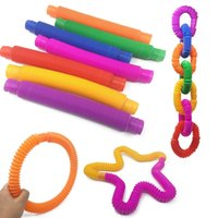 Mini Tube Fidget Tubes Twist Tubes Sensory Toy Finger Fun Game Stress Anxiety Relief Squeeze Pipes Stretch Telescopic Bellows 200pcs LLA783