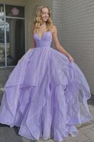 Women Shiny V Neck Fluffy Purple Long Evening Dresses Spaghetti Strap A Line Floor Length Quinceanera Prom Gowns