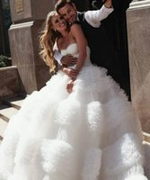 2021 Plus Size Arabic Aso Ebi Luxurious Stylish Sexy Wedding Gowns Sweetheart Tiers Tulle Ball Gown Bridal Dresses ZJ433