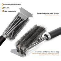 2021 Grill Limpeza Escova BBQ Tool Grill Brush 3 Escovas de Aço Inoxidável em 1 Limpeza BBQ Acessórios Melhor Limpador Churrasco