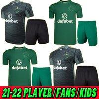21 22 Celtic Away Portiere Soccer Jerseys 2021 2022 Black Edouard Johnston Griffiths McGregor Maillots de Foot Forest Uomo + Bambini Camicie da calcio Uniformi