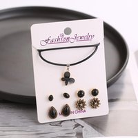 Earrings & Necklace 2021 Statement Jewelry Set For Women Butterfly Pendant Vintage Stud Fashion 1 Necklace+4 Pairs