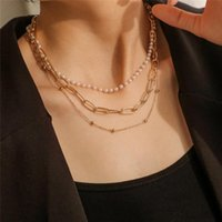 Chokers Bacolod Gold Color Pearls Multi-Care Choker Ожерелье для Женщин Девушки 2021 Мода Рождественская вечеринка Свадебные Ювелирные Изделия